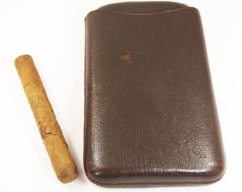 Vintage brown leather Clifton cigar case holder box - unused - perfect gift for him!