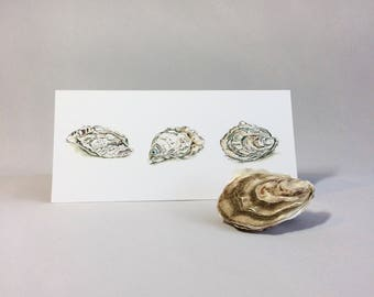 Oysters. Greetings Card of Original Painting. Oyster Lover Birthday Card. Shellfish Thank You Card for Foodie. Pearl Anniversary Card.