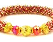50 OFF Gold on Fire Bead Crochet Bracelet kit by Ann Benson