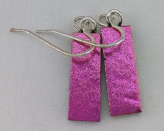 Pink-Yellow-Dichroic Glass Drop Earrings 925 Silver
