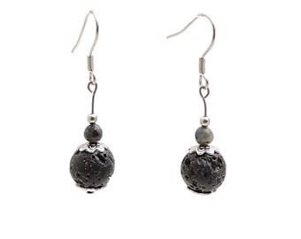 Boho bohemian jewelry, labradorite lava stone earrings, fashion bohemian earrings, boho chic earrings black silver earring beads earring bya