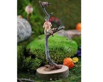 Fairy Garden  - Garden Sprite With Bird Nest - Miniature