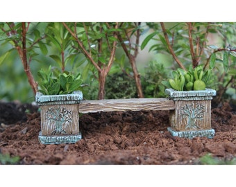 Fairy Garden  - Tree Bench with Planters - Miniature