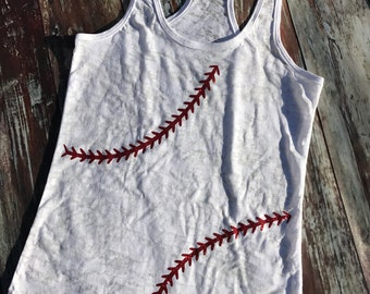 Ladies Baseball/Softball Burnout Racerback Tank -- Cotton -- Custom -- Glitter -- All Sizes