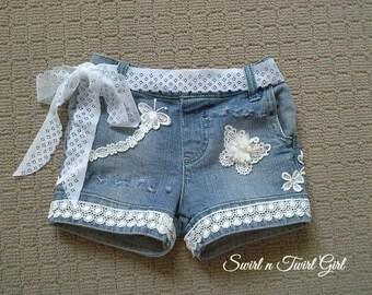 Toddler girl denim shorts, Distressed denim shorts, boho baby clothing, ripped denim, embellished denim, infant girl Jean shorts, 2 year old