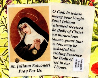 St JULIANA FALCONERI foundress of the MANTELLATAE new laminated relic holy card, Blessed Sacrament Miracle. ***Free Uk postage included***