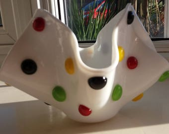 Fused Glass 'Smartie' Dotty Handkerchief Vase