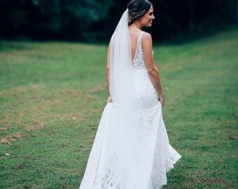 Chapel Veil, Long Veil, Simple Wedding Veil, Raw Edge Bridal Veil, Single Layer Veil, Long Wedding Veil, White Ivory Blush Champagne