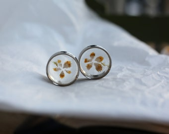 1 inch Citrine Point Flower Plugs/ Double Flared Crystal Plugs/ Citrine Plugs with Moss