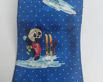 Vintage silk tie panda snow
