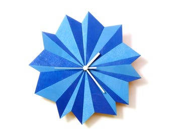 Origami Blue - unique wooden wall clock