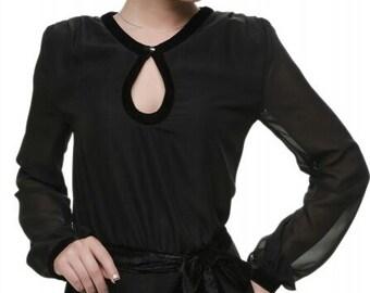 Long black dress Chiffon maxi dress Occasion Dress floor Evening dress with a belt Bridesmaids Dress floor Spring dress Summer long dress