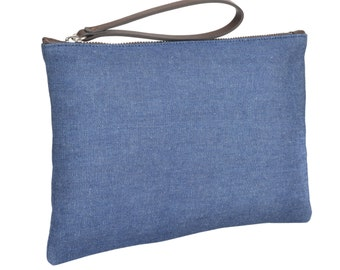 Denim Clutch With Leather Handle & Liberty Floral Fabric Lining