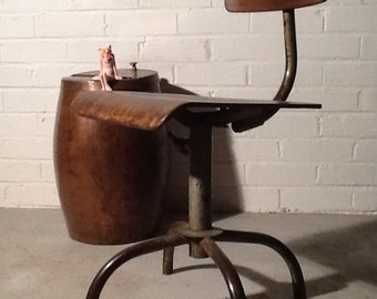 Vintage 1900's French Metal Industrial Chair Copper Rivets