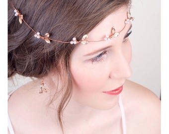 Boho Bridal Rose Gold Hair Vine, Sash Belt, Pearl Rose Gold Wedding Halo, Bridal Hair Accessory, Rose Gold Crown, Headpiece 2(RG)