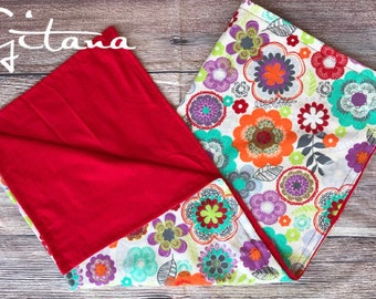 Red floral baby blanket