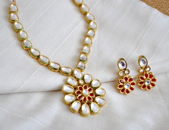 Meenakari Gold Plated Kundan Necklace | Indian Jewelry | Indian Earrings | South Indian Jewelry