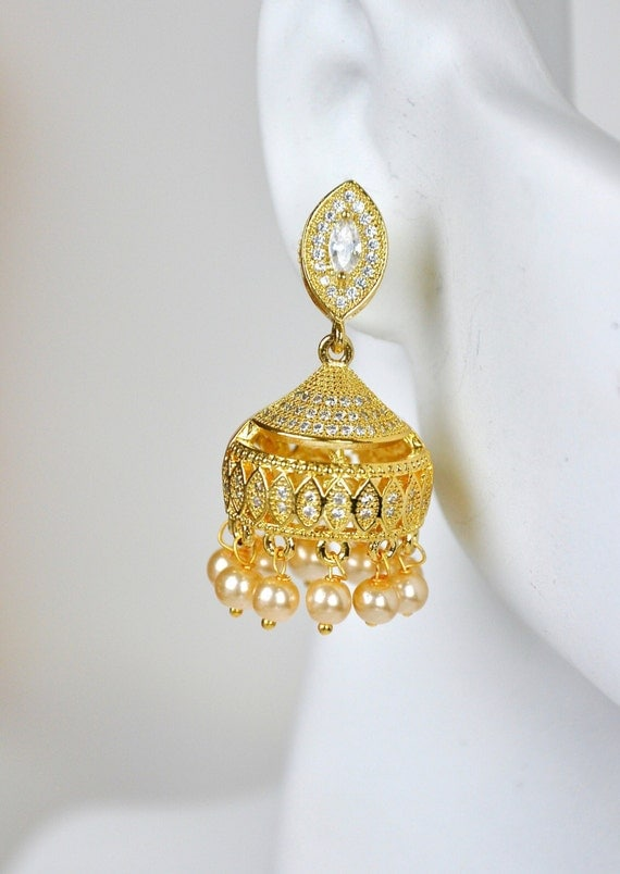 CZ cubic zirconia/American diamond jhumkis | Indian Jewelry | Indian Earrings | Gold plated