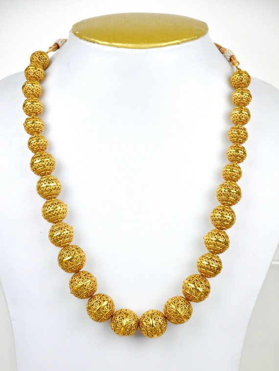 Antique gold bead necklace | Indian Jewellery | Indian Necklace | Temple Jewelry