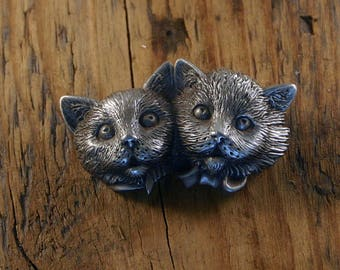 Brother and Sister Cat Brooch