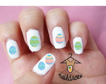 30 Easter Egg Nail Decals  (Waterslide Nail Decal)