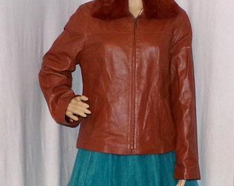 Women's Sheepskin Jacket, Di Marzia Designer Jacket, Sheepskin and Rabbit turn collar (removable) Vintage find 2L Stunning Jacket