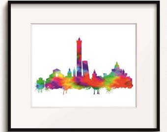 Bologna Skyline, Watercolor Art Print (262)Bologna Cityscape,Bologna, Italy Art Print,Bologna Art Print, Bologna Poster, Abstract Art Print