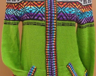 New, 100% alpaca wool women sweater, cardigan S size, green color, hoddie, zippered, warm, andean