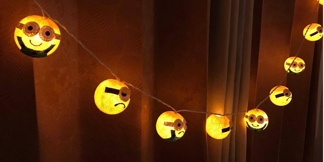 Cartoon Big eyes string lights cotton ball string lights for