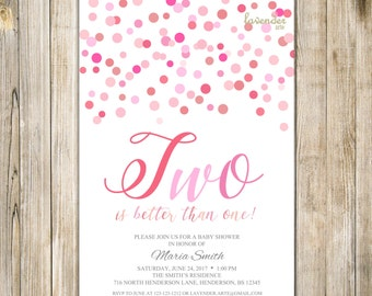 PINK TWINS BABY Girl Shower Invitation, Digital Twin Baby Girl Sprinkle Invite, Two is Better than One, Blush Pink Confetti Polka Dots