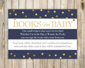 NAUTICAL BRING a BOOK Baby Shower, Nautical Books for Baby, Navy Blue Book Insert Card, Baby Girl Boy Shower, Instant Download Diy Printable