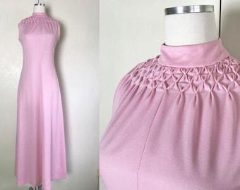 1960s 1970s Pale Pink Maxi Dress with High Neck // 60s 70s Bubblegum Pink Long Dress