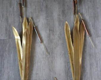 Mid Century Brass and Copper Cattails Brutalist Metal Torch Cut Wall Art 3 D  Sculpture Set of 2