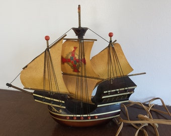 Mid Century Santa Maria Clipper Sailing Ship Light Imported from Holland For The Broadway Department Store