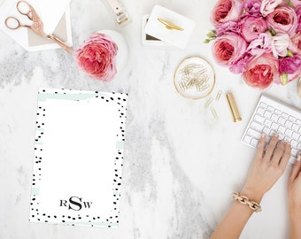 Personalized Black and White Polka Dot with Mint Notepad