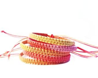 Ombre Bracelet, Festival Jewelry, Beach Bracelet, Ombre Friendship Bracelets, Surfer Bracelet, Macrame Bracelet, Wax Cord Bracelet, BFF Gift