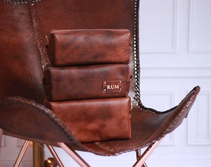 Cognac Men's Leather Toiletry Bag Case Dopp Kit Shaving Bag OOAK Groomsmen Present Gift for him SETS For grooms !