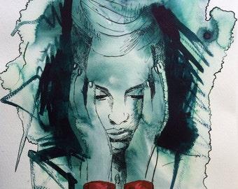 DDLG, erotic art, Original painting, erotic, ink painting, handcuffs, erotic art decor, bdsm art, erotic painting art, wall art, handcuffs