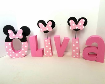 Minnie mouse wood name letters - PRICE PER LETTER - Minnie mouse name - minnie mouse party - minnie mouse name letters - disney letters