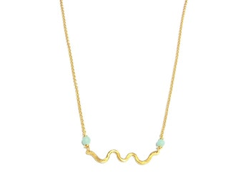 "Golden ""Copacabana"" - Vermeil and Amazonite necklace"