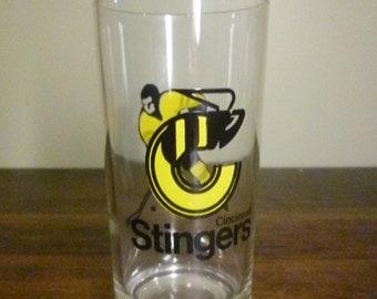 RARE Vintage Cincinnati Stingers Hockey Glass - 1970's