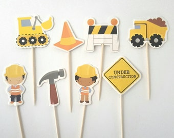 Construction Cupcake toppers 8 pc double sided birthday party