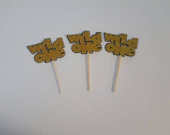 Wild One cupcake toppers 6 piece or 12 piece where the wild things are