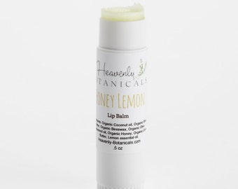 Organic Honey Lemon Lip Balm, coconut oil lip balm, shea butter lip balm, moisturizing lip balm, shiny lip balm, natural lip balm .5 oz