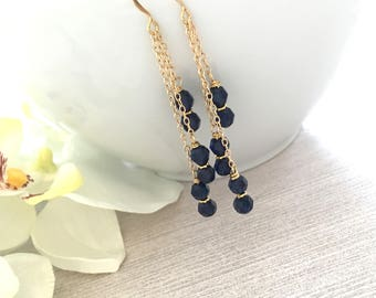 Indigo Swarovski Crystal 14K Gold Filled Chain Earrings, Gifts for Her, Elegant Earrings, Crystal Dangle and Drop Earrings, Girlfriend Gift