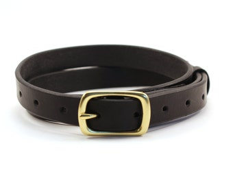 Narrow Belt / Handmade Leather Skinny Belt / Mens / Womens