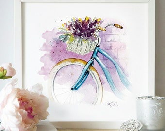 Spring Watercolor Illustration - Watercolor Bicycle greeting card hand drawn Printed illustration decor
