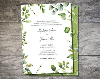 Garden Wedding Invitation, Ivy Wedding Invite, Garden Wedding Invite, Garden Party Invite, Garden Party Wedding, Ivy Invitation, Leaf Invite