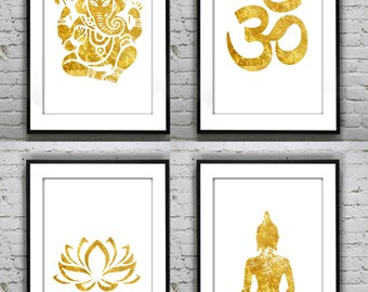 Set of 4 Ganesha lotus buddha om, Meditating  yoga prints ,Gold Foil Print  Print Gold Wall Art  Rose Gold Mural Prints Vintage Foil Quote