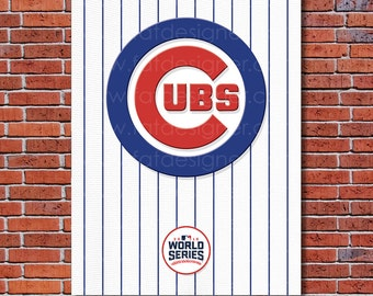 Chicago Cubs Pinstripe - World Champion - Art Print - Perfect for Mancave